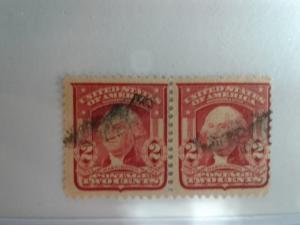 SCOTT # 319 USED GEORGE WASHINGTON  DOUBLE HEADER !  1903 !!