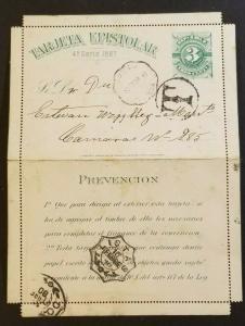 1890 Uruguay Folded Letter Card Vintage Postal Stationary Cover