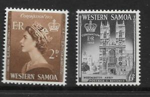 SAMOA SG229/30 1953 CORONATION MNH