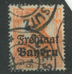 Bavaria -Scott 179 - Stamp of Germany Overprint -1919 - Used - 7.1/2pf Stamp
