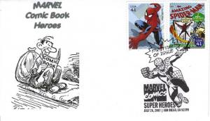 Marvel Comic Book Heroes FDC from Toad Hall Covers!