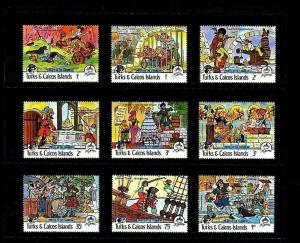 TURKS & CAICOS - 1985 - DISNEY - PIRATES OF THE CARIBBEAN - 9 X MINT - MNH SET!