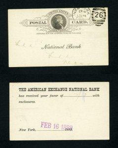 Post Card American Exchange National Bank, NY to Lee National Bank - 2-16-1888