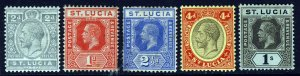 ST LUCIA KG V 1912-21 Watermark Mult Crown CA Group Die I SG 79 to SG 85a MINT