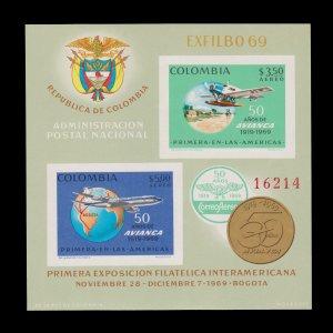 Colombia 1969 Souvenir Sheet. Scott # C522. Unused