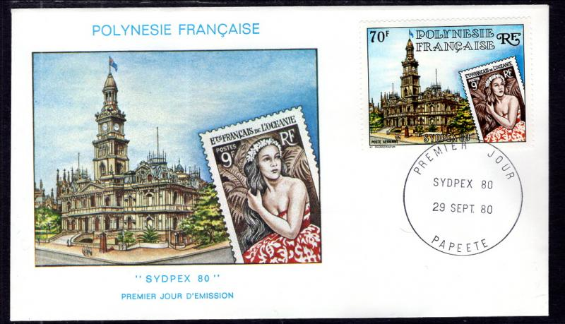 French Polynesia C179 Stamp on Stamp U/A FDC