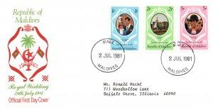 Maldive Islands 906-908 Royal Wedding Typed FDC