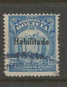 BOLIVIA  140  USED, 1919-1920 COAT OF ARMS SURCHARGED IN BLACK