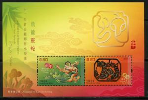 HONG KONG SCOTT#1557 DRAGON SNAKE  GOLD/SILVER SOUVENIR SHEET LOT OF 10  MINT NH