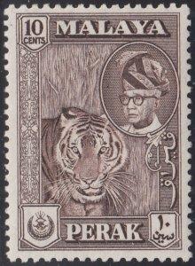 Malaya Perak 1957-61 MH Sc #132 10c Tiger, Sultan Yussuf Izuddin Shah