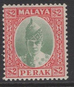 MALAYA PERAK SG120 1940 $2 GREEN & SCARLET MTD MINT