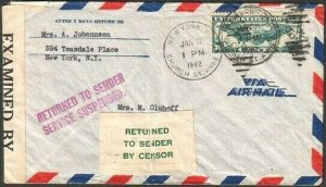 USA TO HOLLAND 1942 cover Service Suspended - Returned by Censor label.....77235