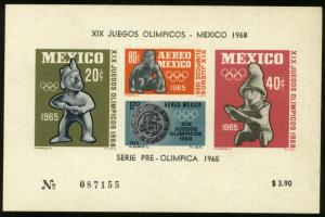MEXICO C310a, 1st Pre-Olympic Issue - 1965 Souvenir  MNG