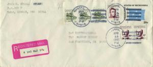 Caroline Islands Micronesia 2c Duperrey,  30c Lutke (2) and $1.00 Sokehs Rock...