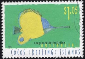 Cocos Islands 313 - Used - $1.05 Longnosed Butterflyfish (1995) (cv $2.25)