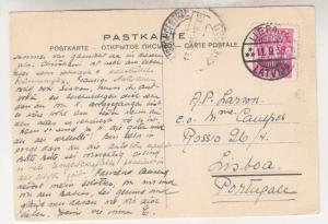 LATVIA, 1935 Postal Card, 20s. Liepaja to Lisbon, Portugal.