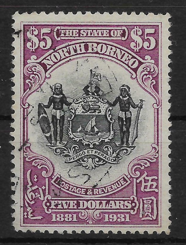 NORTH BORNEO SG302 1931 ANNIVERSARY $5 BLACK & PURPLE USED