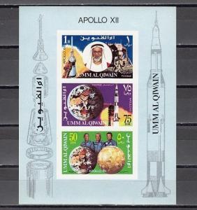 Umm Al Qiwain, Mi cat. 403-405 B, BL19. 2nd Man Moon Landing s/sheet.