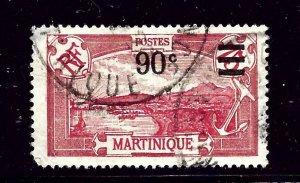 Martinique 123 Used 1927 surcharge  short corner perf