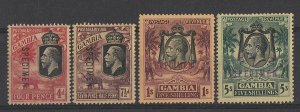 GAMBIA : 1922 KGV & Elephants set 4d to 5/- wmk mult crown, SPECIMEN.
