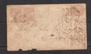 Prince Edward Island #5 & #5b Used Imperf Pair & Single On Tatty Cover *Cert.*
