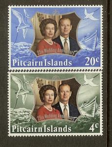 Pitcairn Islands Scott #'s 127-128, Silver Wedding, MH