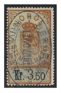 Norway 1902 Arms Documentary Revenue 3.50K Orange & Light Green F/VF Used #19