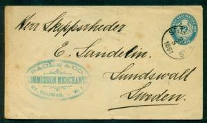 DANISH WEST INDIES 1891 2¢ env St. Thomas to SWEDEN via German Ship - NICE ITEM
