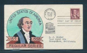 #1046 15c JOHN JAY ON W.N. WRIGHT HANDPAINTED FDC CACHET DEC 12,1958 BU9859