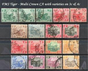 Malaya Federated Malay States FMS 1904-22 Tiger 1c-50c 17V MCCA Used M2032