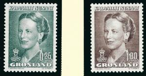 Nice Greenland #214, 217 Queen Margrethe MNH VF...Kalaallit is Hot now!
