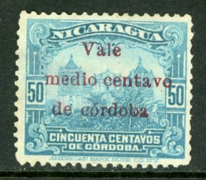 Nicaragua 1918 Cathedral Provisional ½¢/50¢ Scott 371 Mint M475