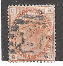 GB #87   1sh  Queen Victoria salmon plate#14   (U) CV $165.00