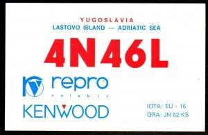 QSL Radio Card Yugoslavia,Lastovo Island-Adriatic Sea,Repro,Kenwood, (Q3393)