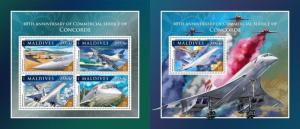 Z08 IMPERFORATED mld161110ab MALDIVES 2016 Concorde MNH ** Postfrisch Set