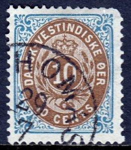 Danish West Indies - Scott #10c - P14X13½ -Rounded cnr. UR - Used - SCV $32.50