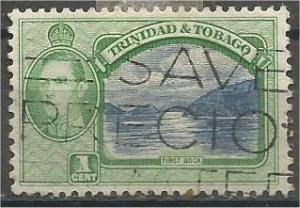 TRINIDAD AND TOBAGO, 1938, used 1c, First Boca, Scott 50