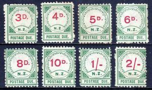 NEW ZEALAND — SCOTT J4//J11 — 1899 3d to 2/- POSTAGE DUES — MH — SCV $802.50