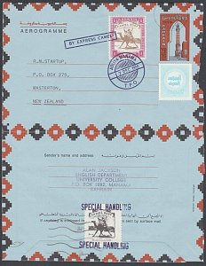 BAHRAIN 198675f aerogramme used with NZ with Camel Express cinderellas......J976