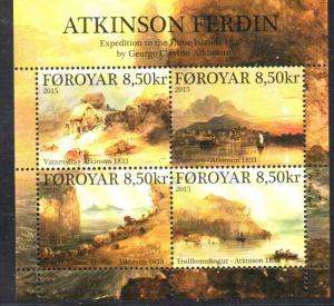 Faroe Islands Sc 638 2015 Atkinson Expedition stamp sheet mint NH