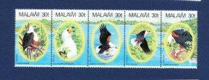 MALAWI - Scott 418 - FVF MNH strip of five - Fish Eagles - 1983