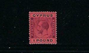 CYPRUS SCOTT #110 1924 GEORGE V ONE POUND-  WMK 3-  MINT  HINGED