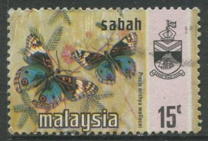 STAMP STATION PERTH Sabah #29 Butterfly Type and state Crest Used 1971