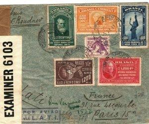 BRAZIL WW2 RETOUR Cover Sao Paulo GB & GERMANY CENSOR FRANCE Paris 1941 LS190