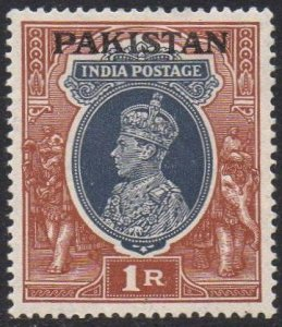 Pakistan 1947 1r grey and red-brown MH