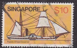Singapore # 348, Paddle Wheel Steamer, Used, 1/3 Cat,