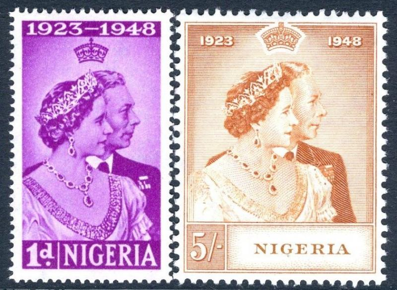 NIGERIA-1948 Royal Silver Wedding Set Sg 62-63 LIGHTLY MOUNTED MINT V17445