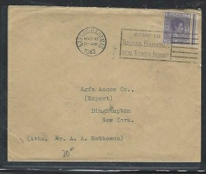 BAHAMAS COVER (PP2909BB) 1942  KGVI  3D SLOGAN CANCEL COVER TO USA