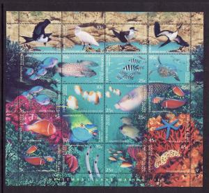 Christmas Is.-Sc#412-unused NH sheet-Marine Life-Birds-Fish-1998-