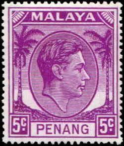 Malaya - Penang SC# 7 SG# 7 George VI  5c MH